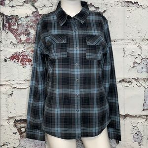 PraNa plaid snap down shirt women's S